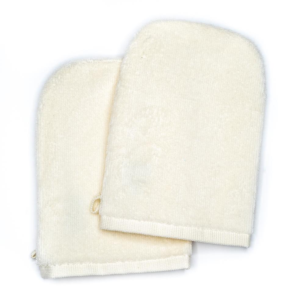 Gants de toilette creme (paire)