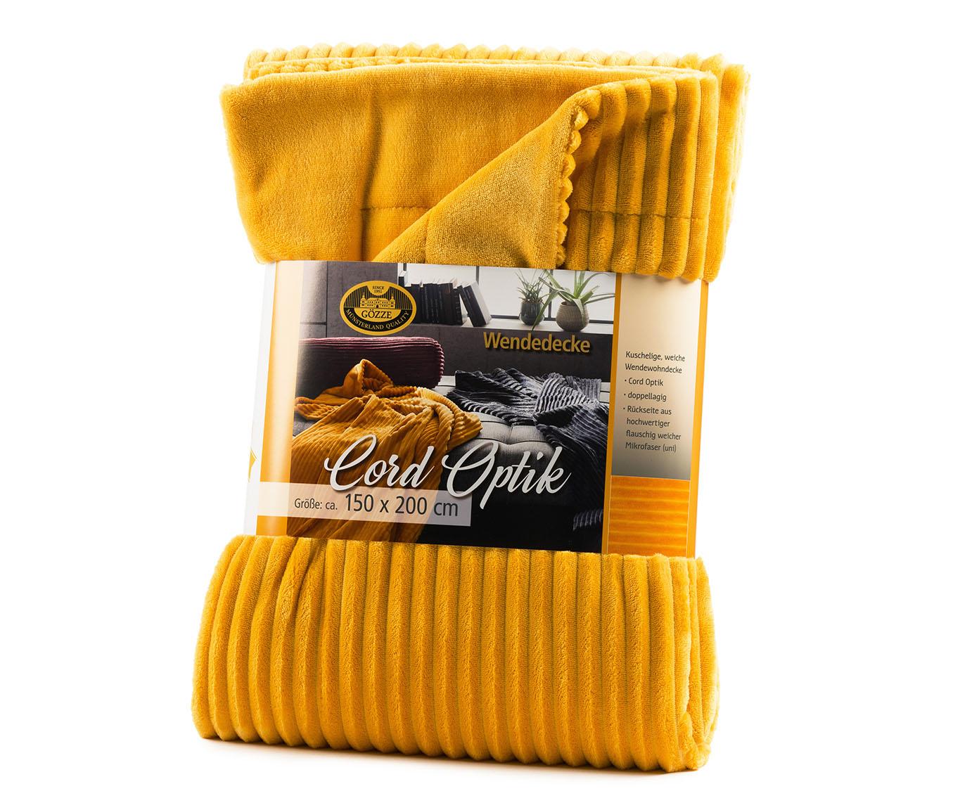 Plaids Cord Optik 150x200 moutarde