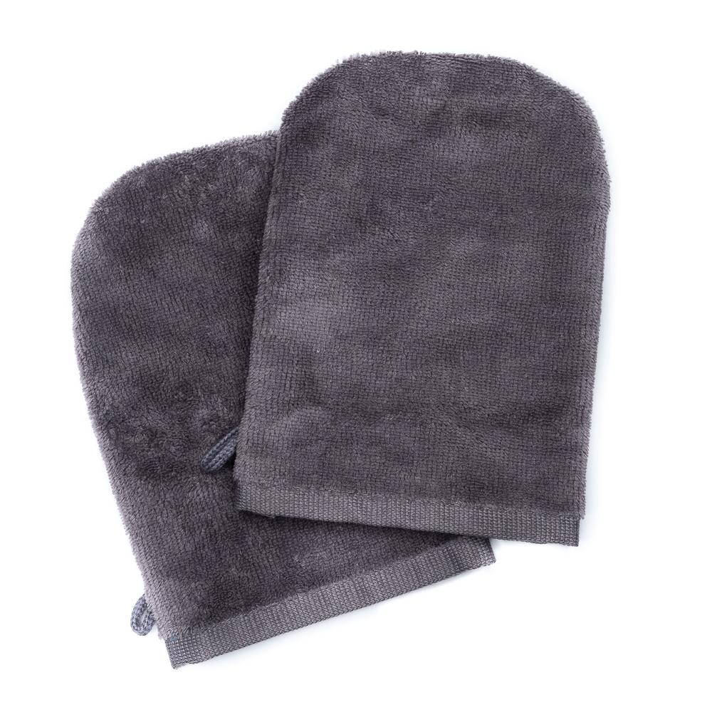 Gants de toilette gris (paire)