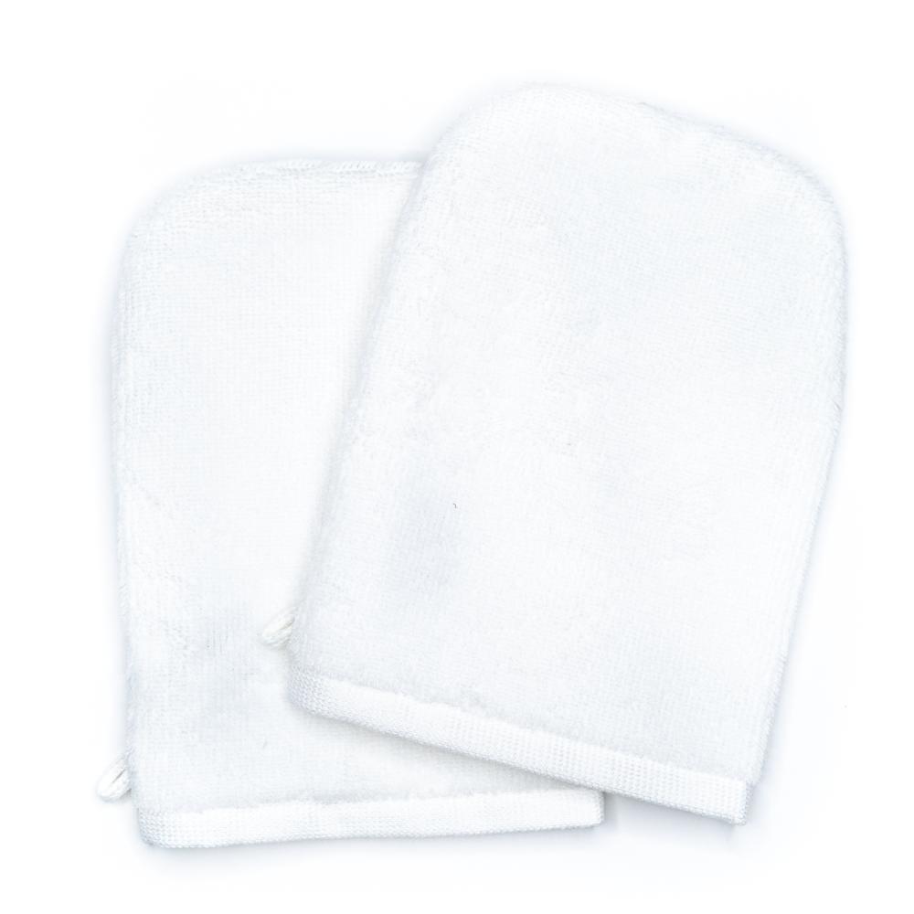 Gants de toilette blanc (paire)